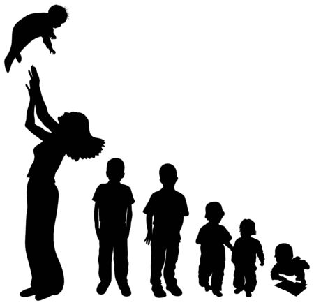 young generation: Children silhouettes in various ages