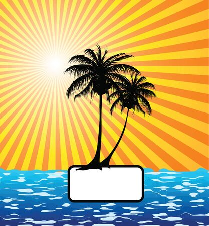 Sun, palm tree and the sea Stock Photo - 2467155