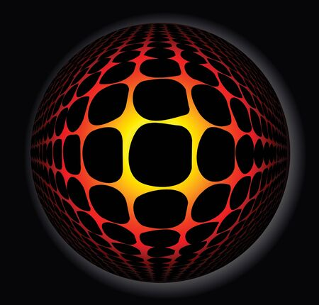 3d abstract sphere full of fire photo