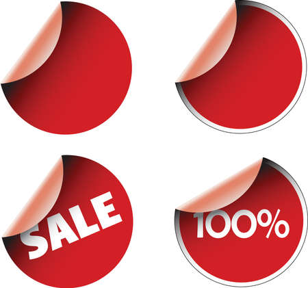 Red circular labels badges and stickers Stock Photo - 2759456