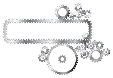 Various metal cogwheels on white background photo