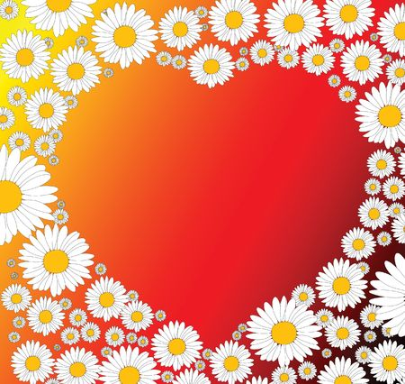 Valentines background with heart and flowers Stock Photo - 2759493