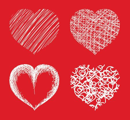 Various hearts on red background photo