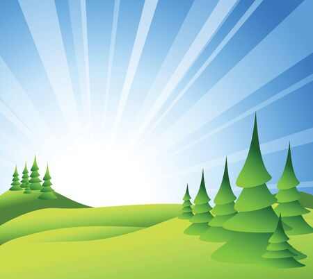 Summer landscape with green grass, trees and blue sky Stock Photo