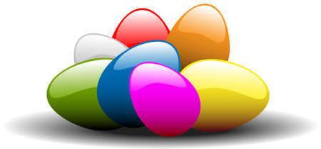 Colorful easter eggs on white background Stock Photo - 2759442