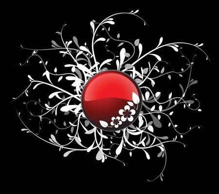 Red button with floral elements on black background photo