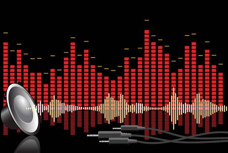 Abstract music background - speaker, jacks and equalizers Stock Photo - 2766607