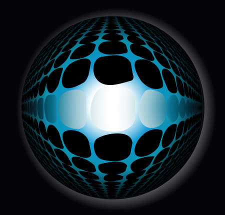 3d abstract blue sphere on a black background photo