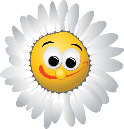 Cartoon marguerite with crazy smile photo