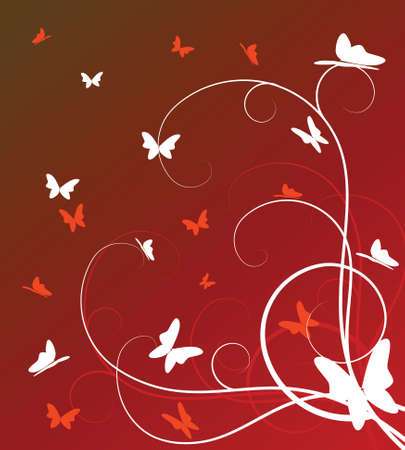 abstract floral background with butterflies photo