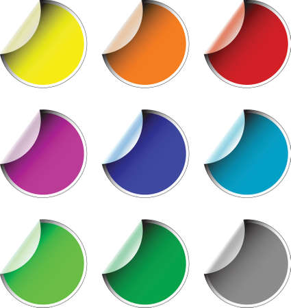 Labels badges and stickers in various colors photo