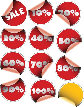 Labels badges and stickers for sales with percentages Stock Photo - 2766620