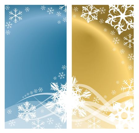 Christmas background with white snowflakes and place for your text (two colors, two pages)   photo