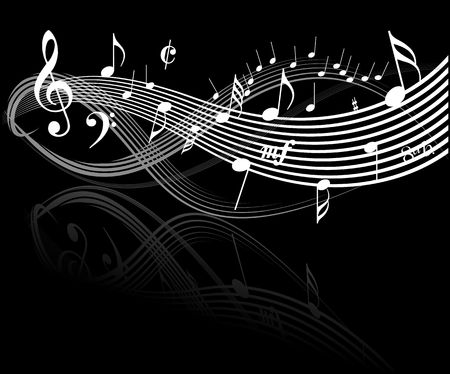 conservatory: Music theme - white notes on black background