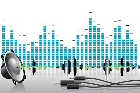 Abstract music background - equalizers, speakers and cables Stock Photo - 3076053