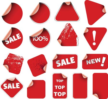 Set of red labels badges and stickers photo