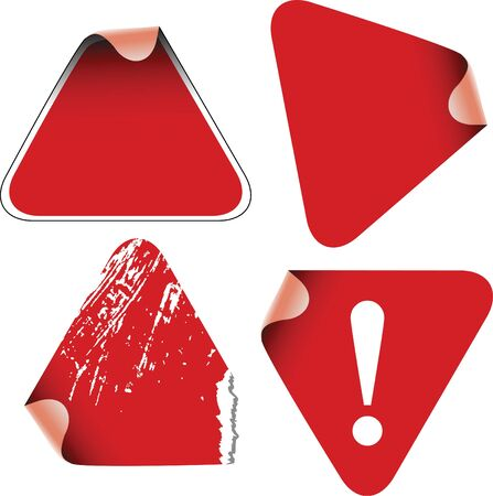 Triangle labels badges and stickers on a white background photo