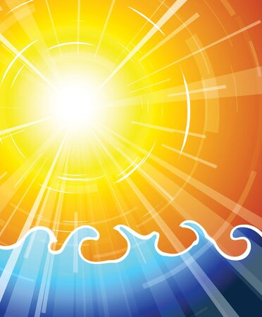 really: Really hot summer sun above the ocean - vector illustration Stock Photo