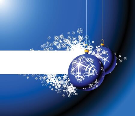 Christmas bulbs and snowflakes - blue christmas background photo