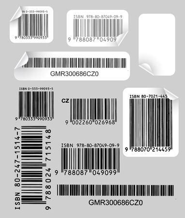 Set of various labels with bar codes on grey background photo
