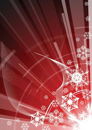 weihnachten: Red christmas background with white snowflakes and abstract elements