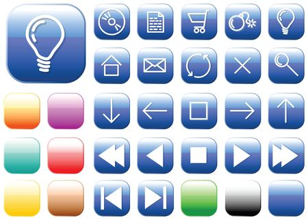 Vector glass buttons - squares - for your webpage or application Stock Photo - 3281463