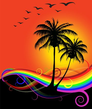Abstract sunset on the beach with rainbow and birds
