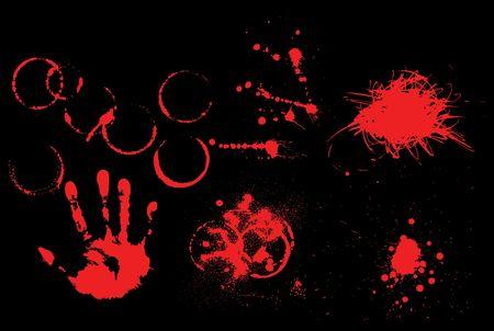 Set of various grunge elements - prints, spatters, splashes, blotches photo