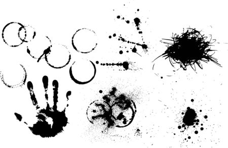 blotches: Set of various grunge elements - prints, spatters, splashes, blotches Stock Photo