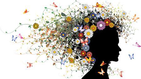 Blumen Mädchen-Silhouette - farbige Version mit Blumen und Schmetterlinge  Standard-Bild - 3281567