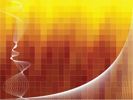 Technical vector background with curves - yellow and orange colors photo