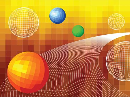 Technical vector background with curves and spheres photo