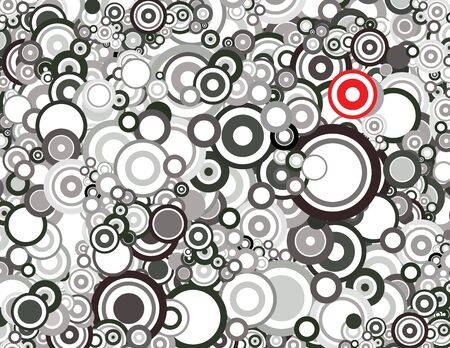 divergence: Black and white circles Stock Photo