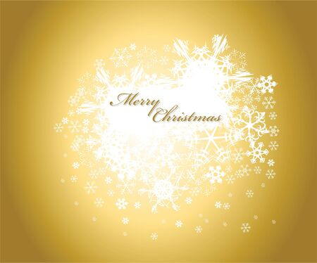Golden christmas background with white snowflakes and place for your text photo