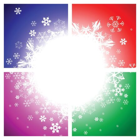 sectors: Abstract background with snowflakes (four sectors)