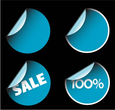 Blue round labels badges and stickers Stock Photo - 3281353