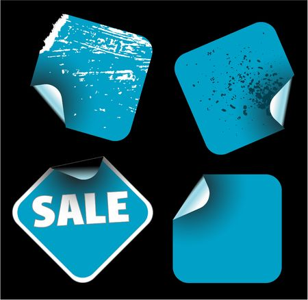 rhomb: Blue square labels badges and stickers Stock Photo