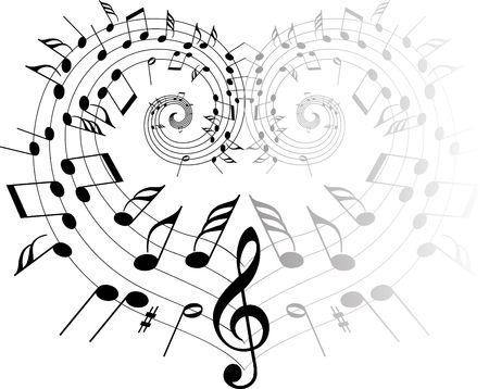 Music theme black notes on white background - heart Stock Photo