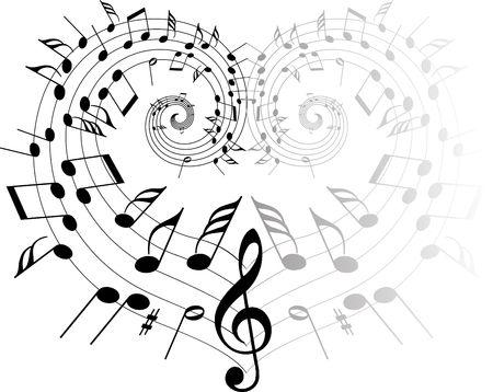 volute: Musica tema note nero su sfondo bianco - cuore