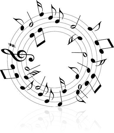 Music theme black notes on white background - circle Stock Photo