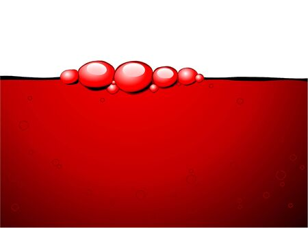 Red bubbles in the red wine on a white background photo