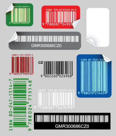 Set of color labels with bar codes photo