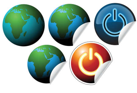 Labels with earth globe and power button photo