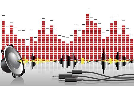 Abstracte muziek achtergrond met equalizers en luidspreker Stockfoto