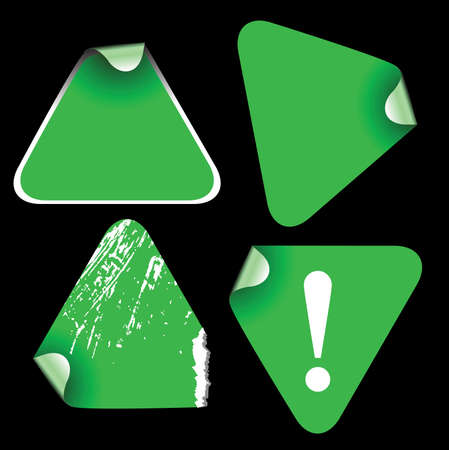 Green triangle labels badges and stickers photo