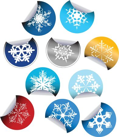 Round Labels badges and stickers with snowflakes photo
