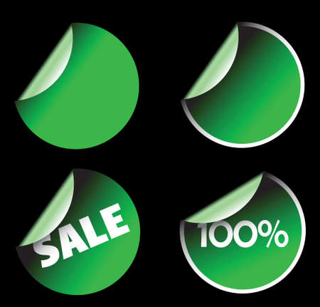 Green labels badges and stickers on black background photo