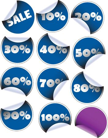 Labels badges and stickers for sales with percentages - blue Stock Photo - 3533408