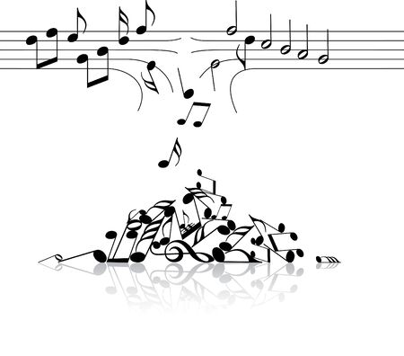 Music theme - broken links with notes on white background photo