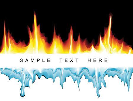 fuego azul: Fondo de vector con llamas y icicles